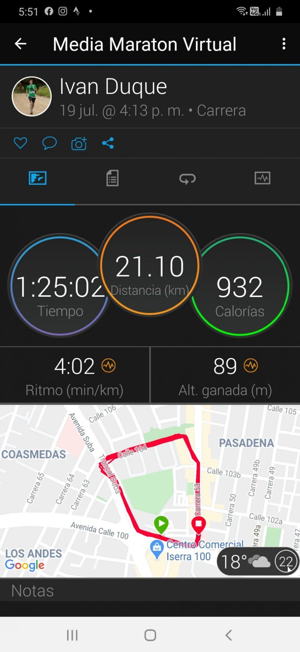 Mi megor registro para una media maraton